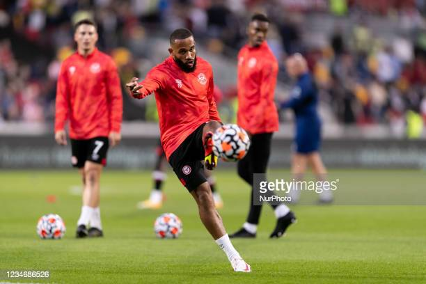 Bryan Mbeumo of Brentford warms up ahead the Premier League match between Brentford and Arsenal at the Brentford Community Stadium, Brentford on...