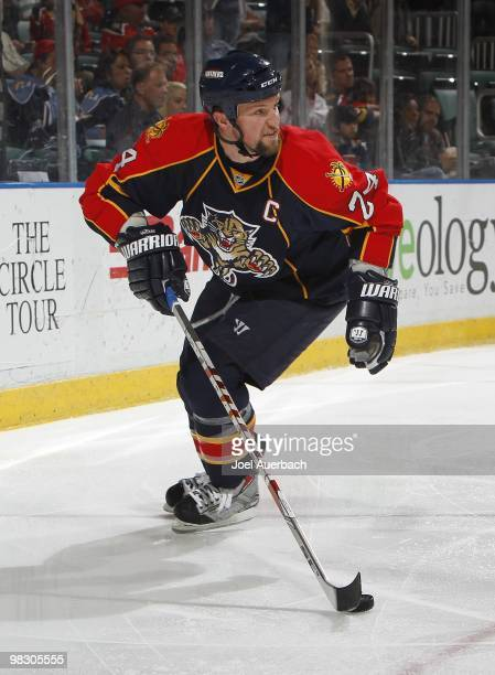 Bryan McCabe of the Florida Panthers carries the puck behind the net against the Ottawa Senators on April 6 2010 at the BankAtlantic Center in...