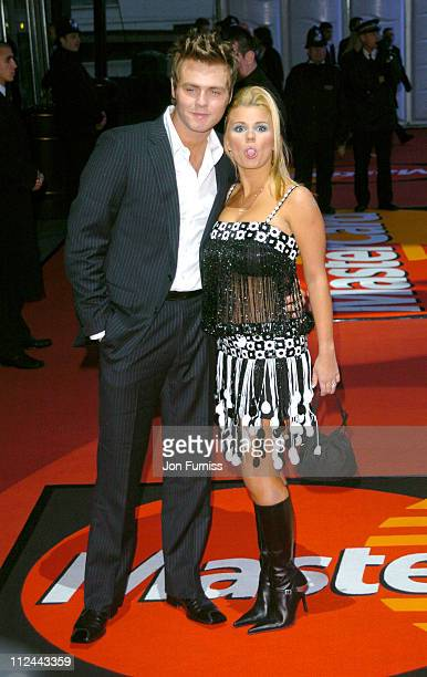 Bryan McFadden and Kerry McFadden during The 2004 Brit Awards Arrivals at Earls Court in London Great Britain