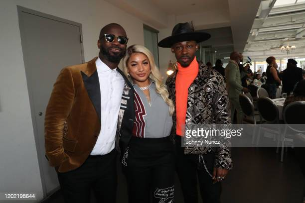 Bryan Michael Cox DaniLeigh and Elijah Boothe attend the Bryan Michael Cox 16th Annual Music And Memory PreGrammy Brunch 2020 at SLS Hotel on January...