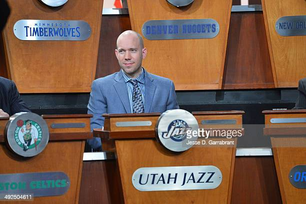 Bryan Miller of the Utah Jazz during the 2014 NBA Draft Lottery on May 20 2014 at the ABC News' 'Good Morning America' Times Square Studio in New...