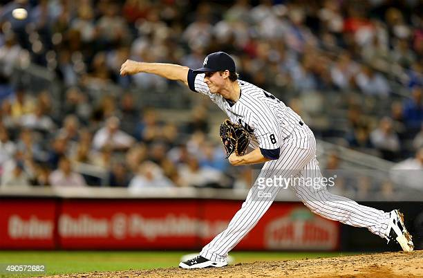 Bryan Mitchell of the New York Yankees delivers a pitch in the seventh inning against the Boston Red Sox on September 29 2015 at Yankee Stadium in...