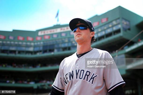 Bryan Mitchell of the New York Yankees looks on before game one of a doubleheader against the Boston Red Sox at Fenway Park on July 16 2017 in Boston...
