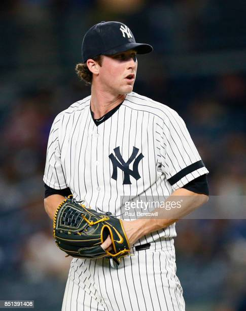 Bryan Mitchell of the New York Yankees pitches in an MLB baseball game against the Baltimore Orioles on September 14 2017 at Yankee Stadium in the...
