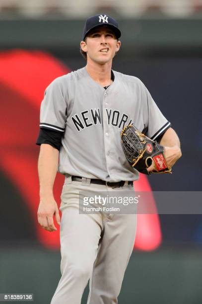 Bryan Mitchell of the New York Yankees reacts during the game against the Minnesota Twins on July 17 2017 at Target Field in Minneapolis Minnesota...
