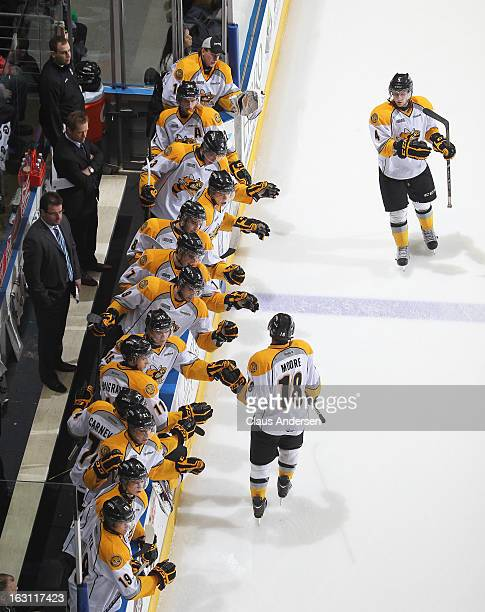 Bryan Moore of the Sarnia Sting celebrates a goal in an OHL game against the London Knights on March 1 2013 at the Budweiser Gardens in London...