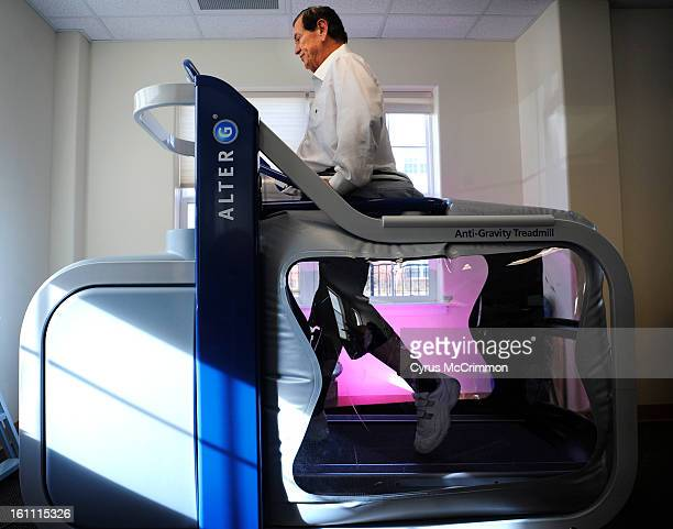 Bryan Moore rehabs his injured legs on a Alter G an antigravity treadmill on Monday December 27 2010 at the rehabilition room at The Suites at Holly...