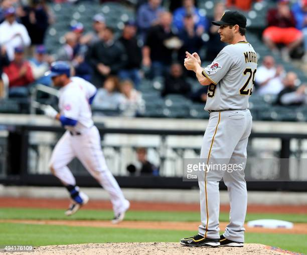 Bryan Morris of the Pittsburgh Pirates reacts as Lucas Duda of the New York Mets rounds third base after a two run homer in the eighth on May 28,...