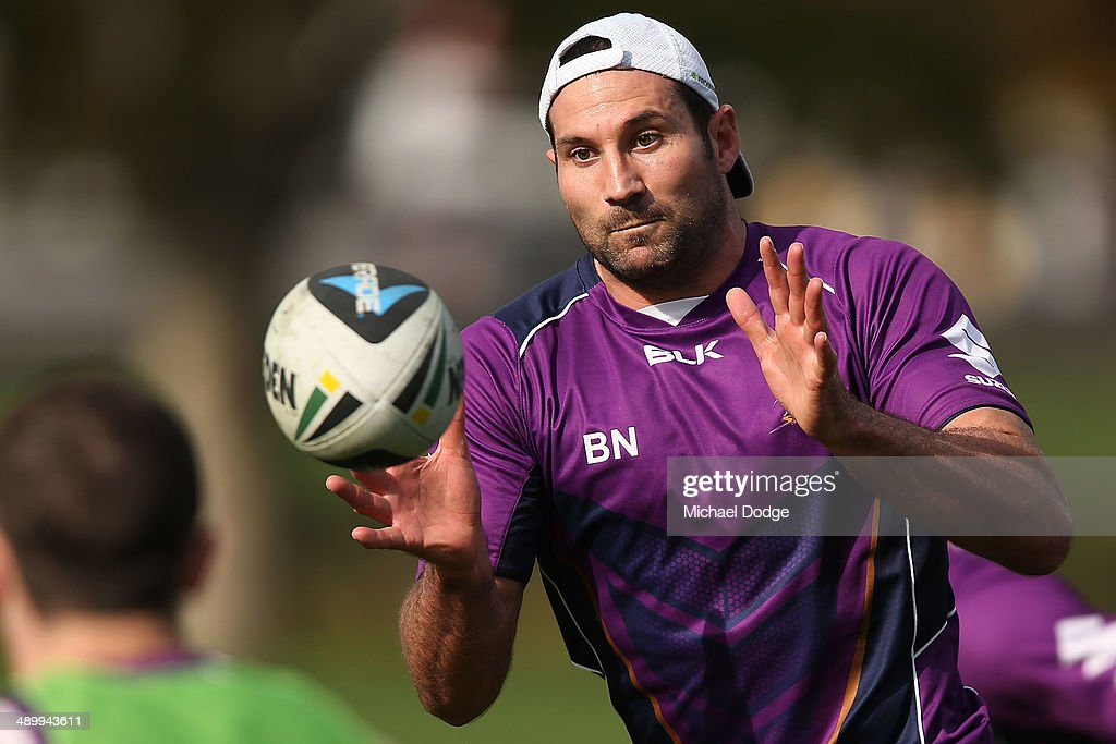 Bryan Norrie catches the ball during a Melbourne Storm NRL media session at Gosch's Paddock on May 13, 2014 in Melbourne, Australia.