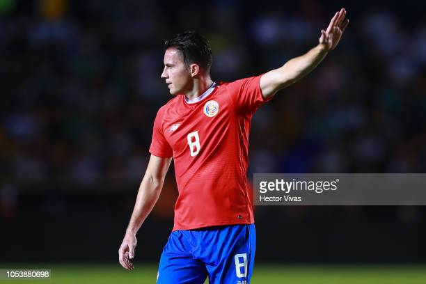 Bryan Oviedo of Costa Rica gestures during the international friendly match between Mexico and Costa Rica at Universitario Stadium on October 11,...