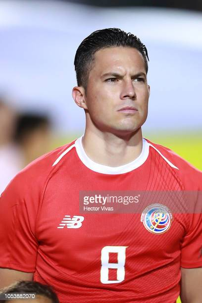 Bryan Oviedo of Costa Rica looks on during the international friendly match between Mexico and Costa Rica at Universitario Stadium on October 11,...