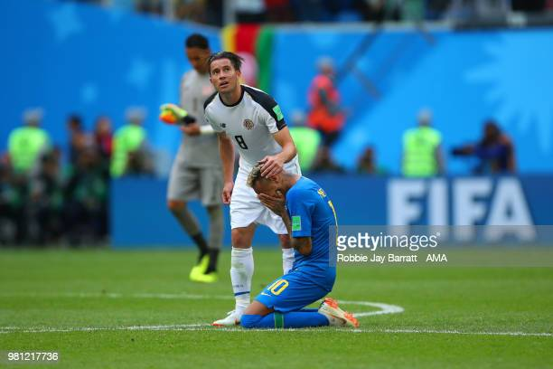 Bryan Oviedo of Costa Rica speaks to Neymar of Brazil at the end of the 2018 FIFA World Cup Russia group E match between Brazil and Costa Rica at...