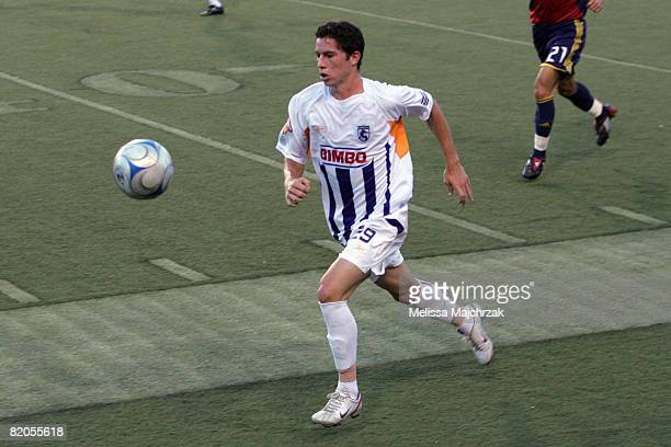 Bryan Oviedo of Deportivo Saprissa goes after the ball against Real Salt Lake at Rice Eccles Stadium on July 23 2008 in Salt Lake City Utah