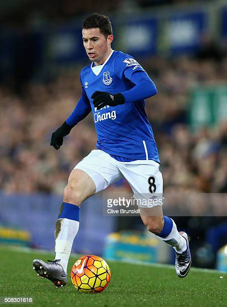 Bryan Oviedo of Everton in action during the Barclays Premier League match between Everton and Newcastle United at Goodison Park on February 3, 2016...