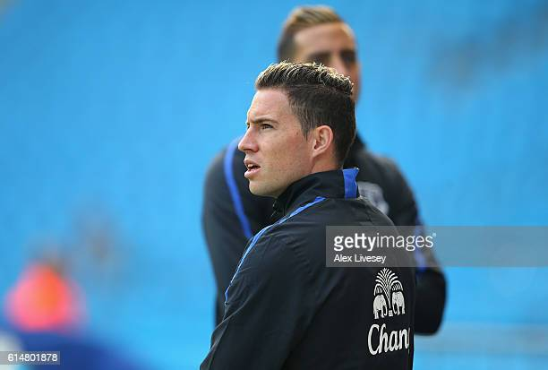Bryan Oviedo of Everton looks around the stadium prior to kick off during the Premier League match between Manchester City and Everton at Etihad...