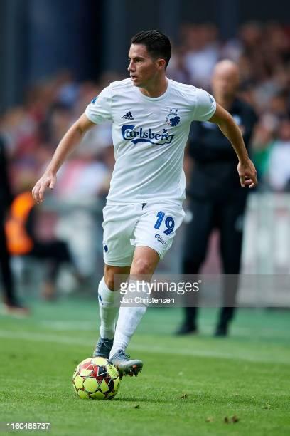 Bryan Oviedo of FC Copenhagen controls the ball during the Danish 3F Superliga match between FC Copenhagen and Lyngby BK at Telia Parken Stadium on...