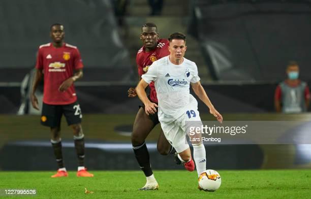 Bryan Oviedo of FC Copenhagen controls the ball during the UEFA Europa League Quarter Final match between Manchester United and FC Copenhagen at...
