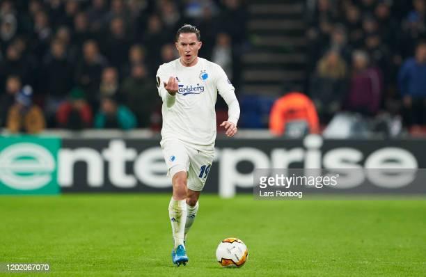 Bryan Oviedo of FC Copenhagen controls the ball duringthe UEFA Europa League Round of 32 1st Leg match between FC Copenhagen and Celtic FC at Telia...