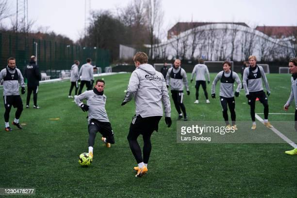Bryan Oviedo of FC Copenhagen in action during the FC Copenhagen training session at KBs Baner on January 8, 2021 in Frederiksberg, Denmark.