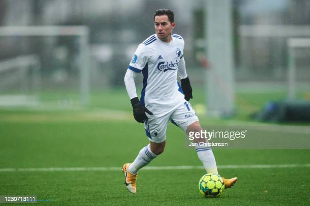 Bryan Oviedo of FC Copenhagen in action during the pre-season test match between FC Copenhagen and FC Helsingor at KBs baner on January 20, 2021 at...