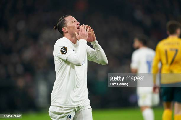 Bryan Oviedo of FC Copenhagen shows frustration during the UEFA Europa League Round of 32 1st Leg match between FC Copenhagen and Celtic FC at Telia...
