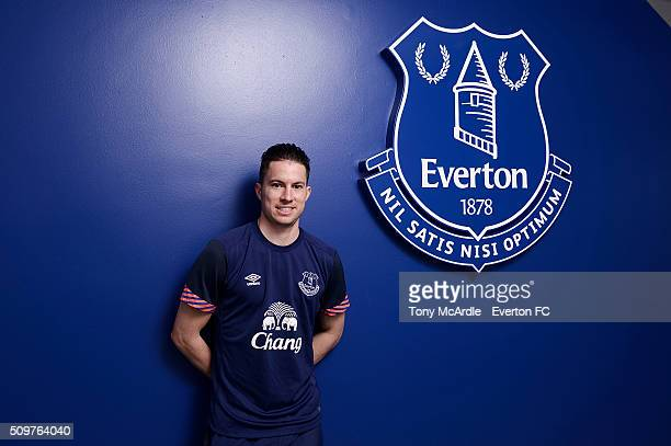 Bryan Oviedo signs a new contract with Everton at Finch Farm on February 12, 2016 in Halewood, England.