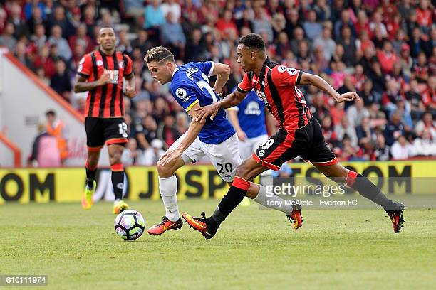 Bryan Oviedo takes on Junior Stanislas during the Premier League match between AFC Bournemouth and Everton at the Vitality Stadium on September 24...