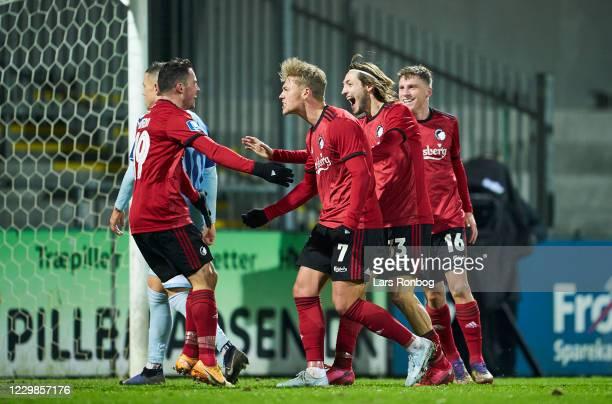 Bryan Oviedo, Viktor Fischer, Rasmus Falk and Pep Biel of FC Copenhagen celebrate after scoring their third goal during the Danish 3F Superliga match...