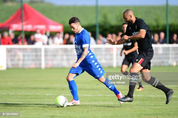 Bryan Pele of Troyes and John Bostock of Lens during the pre season friendly match between RC Lens and ESTAC Troyes on July 12 2017 in Itancourt...