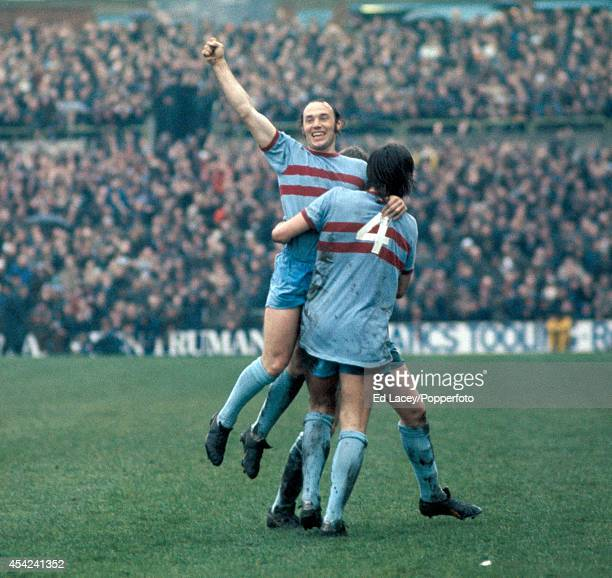 Bryan Pop Robson celebrates after scoring for West Ham United during their Division One football match at Selhurst Park on 24th March 1973 West Ham...