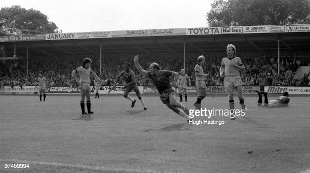Bryan Pop Robson of Chelsea celebrates scoring the winning goal on his Chelsea debut during the Football League Division Two match between Cambridge...