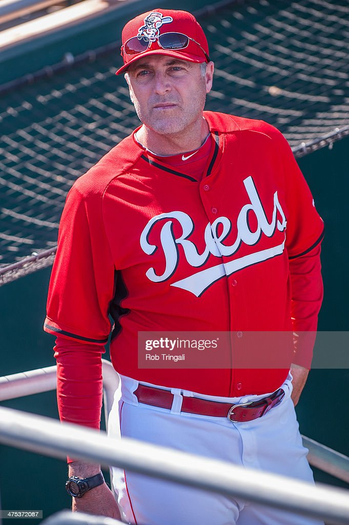 Bryan Price manager of theCincinnati Reds looks on before the game against the Cleveland Indians at Goodyear Ballpark on February 27, 2014 in Goodyear, Arizona.