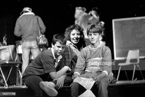 JAN 29 1988 Bryan Revello Dawn Heinz John Roper Adams City HS First Films left to right Brian Reuello 14 Dawn Heinz John Roper 14 student extras