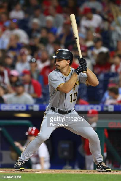 Bryan Reynolds of the Pittsburgh Pirates in action against the Philadelphia Phillies during a game at Citizens Bank Park on September 24, 2021 in...