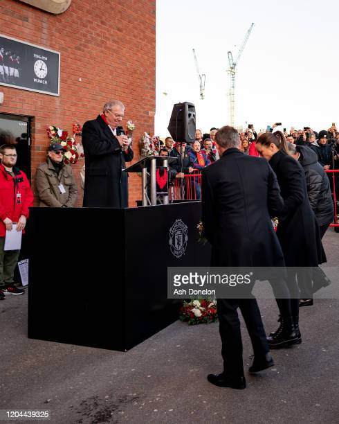 Bryan Robson and Casey Stoney of Manchester United lay wreaths at a ceremony to mark the 62nd anniversary of the Munich Air Disaster at Old Trafford...