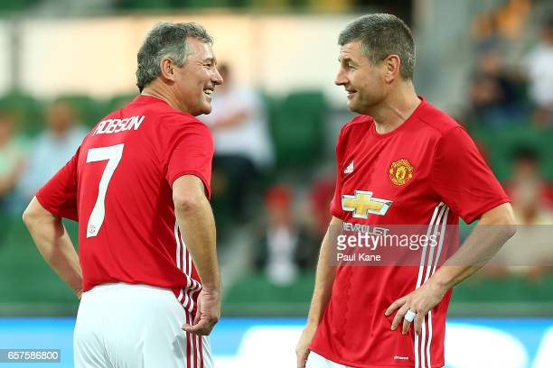 Bryan Robson and Denis Irwin of the Manchester United Legends talk before the Manchester United Legends and the PFA Aussie Legends match at nib...