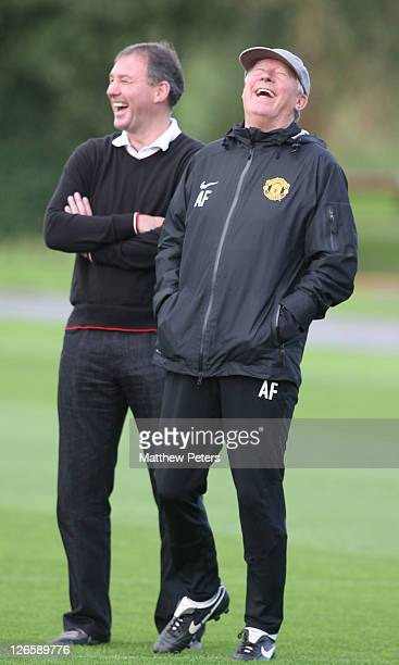 Bryan Robson and Sir Alex Ferguson of Manchester United in action during a first team training session ahead of their UEFA Champions League Group C...