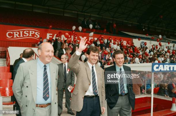 Bryan Robson being unveiled as the new Manager for Middlesbrough FC Bryan Robson pictured walking out onto the pitch with Chairman Steve Gibson...