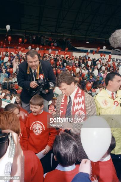Bryan Robson being unveiled as the new Manager for Middlesbrough FC Pictured signing autographs for fans Ayresome Park Middlesbrough 18th May 1994
