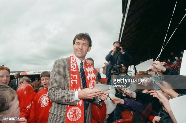 Bryan Robson being unveiled as the new Manager for Middlesbrough FC Pictured signing autographs for fans. Ayresome Park, Middlesbrough, 18th May 1994.