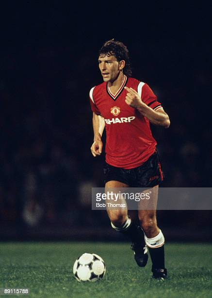 Bryan Robson in action for Manchester United against Ipswich Town at Portman Road in Ipswich 20th August 1985