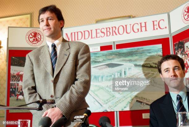 Bryan Robson is unveiled as the new Manager for Middlesbrough FC Pictured at a press conference with chairman Steve Gibson on the right. Ayresome...