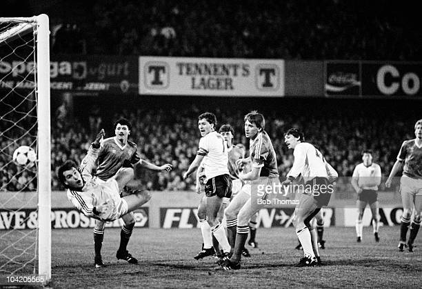 Bryan Robson of England scores the first goal during the Northern Ireland v England European Championship Qualifying match played at Windsor Park...