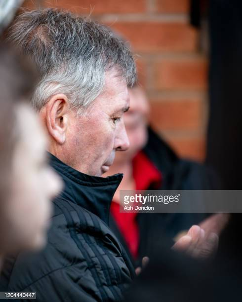 Bryan Robson of Manchester United attends a ceremony to mark the 62nd anniversary of the Munich Air Disaster at Old Trafford on February 06 2020 in...