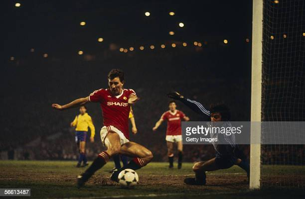 Bryan Robson of Manchester United scores his second goal during the European Cup Winners Cup QuarterFinal Second Leg match between Manchester United...
