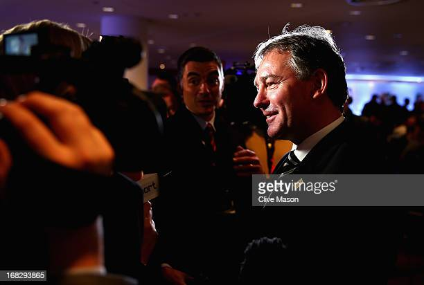 Bryan Robson talks to the media during the Football Association's Royal Mail Stamp Launch at Wembley Stadium on May 8 2013 in London England