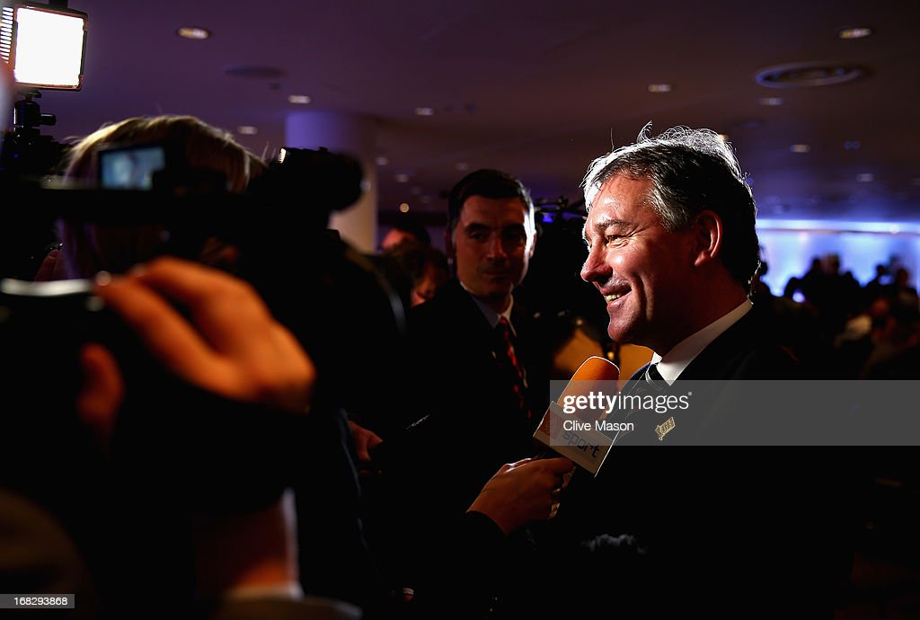 Bryan Robson talks to the media during the Football Association's Royal Mail Stamp Launch at Wembley Stadium on May 8, 2013 in London, England.