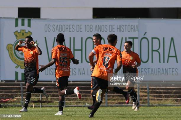 Bryan Rochez of CD Nacional celebrates after scoring a goal during the Liga NOS match between Vitoria FC and CD Nacional at Estadio do Bonfim on...