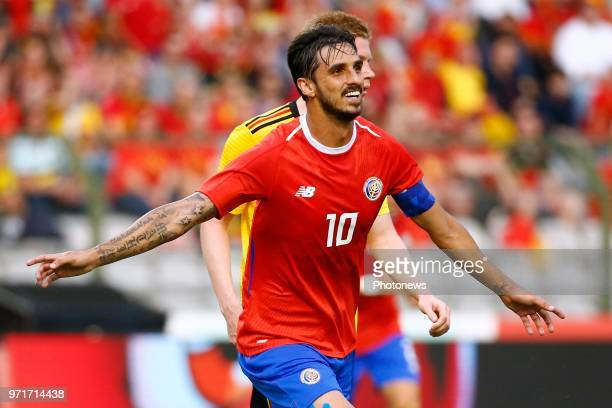 Bryan Ruiz midfielder of Costa Rica scores and celebrates during a FIFA international friendly match between Belgium and Costa Rica as preparation...