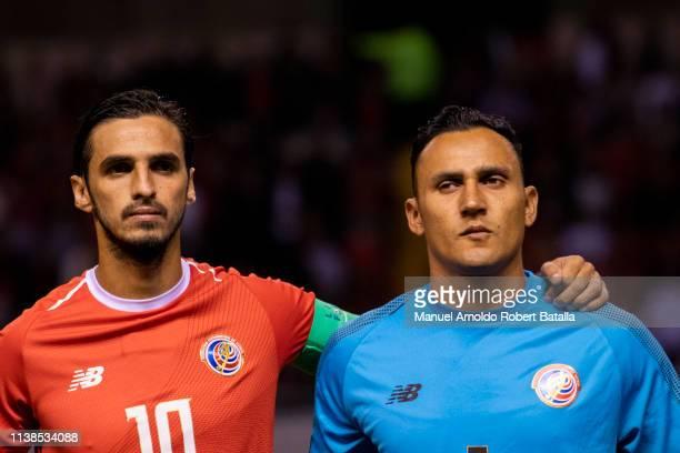 Bryan Ruiz of Costa Rica and Keylor Navas of Costa Rica during the International Friendly match between Costa Rica and Jamaica at Estadio Nacional on...